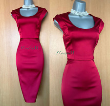 Karen Millen UK 14 Red Satin Round Neck Wedding Cocktail Pencil Midi Dress EU 42