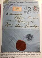 1915 Riga Latvia Russia Empire Commercial  Cover To Copenhagen Denmark WAx Seal