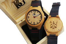 ENGRAVED Wood Leather Luxury Watch Lovers PERSONALISED Unisex Wooden Box Bamboo
