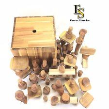 Wooden Blocks Set 106 pcs in a Stackable Box and throw mat - Natural Organic 3+