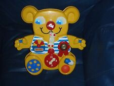 Vintage 1982 Matchbox Yellow Teddy Bear Baby Cot Activity Toy With Connector