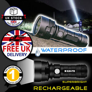 High Power LED Torch Tactical Super Bright Military Flashlight Rechargeable - L2