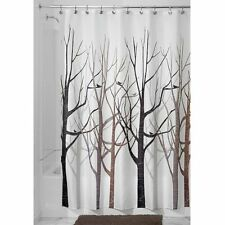 InterDesign Forest Fabric Shower Curtain, 72 x 72, Black/Gray