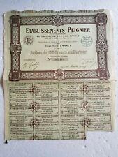 B15 ACTION de 100 Francs au porteur de Etablissements PEIGNIER a NANCY  1927