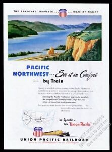 1946 Union Pacific Railroad train to Pacific Northwest vintage print ad