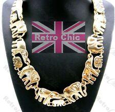 Enlace de Oro de Moda Collar Macizo Grande Elefante caminar Vintage Animal Cristal Cadena