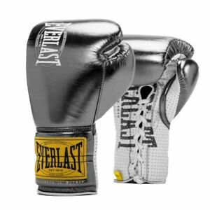 Everlast Metallic Silver 1910 classic fight boxing gloves 10oz