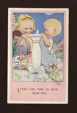 Artist MABEL LUCIE ATTWELL #4426 Used 1948 Children sun dial PPC