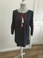 BNWT White Stuff Amelia Embroidered Black And Red Tunic - Size UK 8