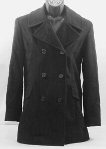 Jones New York Cashmere Black Double Breasted Coat Jacket Womens Sz 8 Wool Nylon