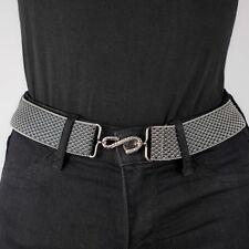 Grey Elastic Belt Silver Basket Weave Womens Elasticated Snake Belt Unisex UK