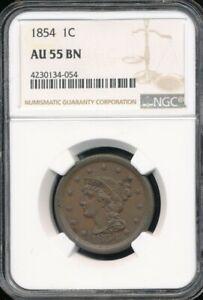 1854 Braided Hair Large Cent NGC AU 55 BN