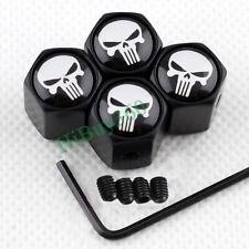 4X BLACK Styling Skull Anti-theft Car Wheel Tire Valve Stem Caps Air Dust Cover