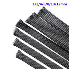 Black PET Braided Cable Sleeving Auto Harness Sheath Expand 1/2/4/6/8/10/12/16mm
