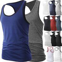 Men Muscle Tank Top T Shirt Ribbed Fashion Sleeveless Gym Tee Casual A-Shirt
