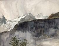 MOUNTAINS IN LANDSCAPE Watercolour Painting c1940 IMPRESSIONIST