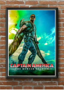 CAPTAIN AMERICA WINTER SOLDIER FALCON A4 Size Poster Print Vintage Marvel Movie