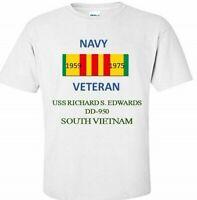 USS RICHARD S.EDWARDS DD950*SOUTH VIETNAM*VIETNAM VETERAN RIBBON 1959-1975 SHIRT