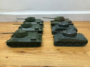 Vintage Toy Plastic CTS Army Tanks Lot Sherman Russian T-34