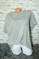 Italy Oversized T-Shirt Vintage Gr. 36 38 40 42 Shirt grau blogger ausgefranst
