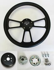 "84-89 Mustang Black on Black Steering Wheel with Kit & Horn 14"" Running Pony Cap"