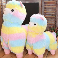 "2020 Alpacasso Large Rainbow Kawaii Plush Alpaca Llama Toy Doll 5"" 7"" 14''"