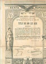 Renta Romana, Bucaresti 1929, 500 Lei GOLD, uncancelled/ coupons, VF