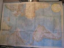 VINTAGE ATLANTIC OCEAN WALL MAP National Geographic December 1955 Huge