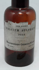 Old Amber Glass Mallinckrodt Chemical Calcium Sulphate Apothecary Poison Bottle