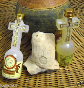 Holy Water from  Blessed Jordan River ,Anointing Oil Cross Bottles Holy Land