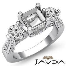 Genuine Round Diamond 3Stone Weddng Ring Asscher Semi Mount Platinum 950 1.2Ct
