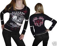 Gothic camisa t-shirt punk emo Skull tachuelas cadenas cremallera chifón m top