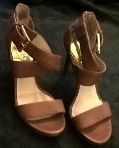 Classy MK Michael Kors Dark Tan Leather Strappy Heels Sandals Shoes 6 1/2 - 36.5
