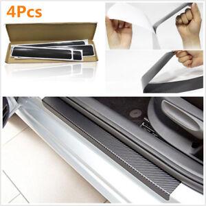 4PCS Carbon Fiber Style Car Door Sill Scuff Plate Car Sticker Anti-kick Scratch