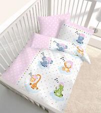 Baby Kinder Bettwäsche Fein Biber Tiere Zoo Sterne rosa 40x60 + 100x135 NEU