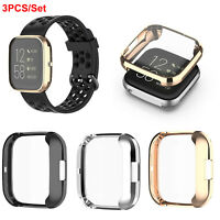 3PCS For Fitbit Versa 2 Watch TPU Screen Protector Plated Frame Case Cover GB