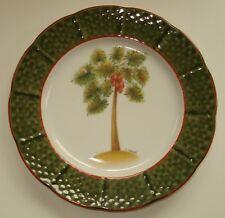 "I Godinger 1855 Email de Limoges Single 7.5"" White Porcelain Plate Palm Tree"