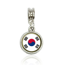 Flag of South Korea Euro European Italian Style Bracelet Bead Charm