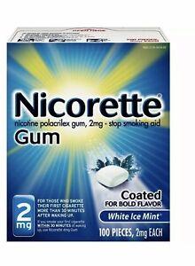 Nicorette Gum 2mg White Ice Mint 100 Pieces, Exp 2022.