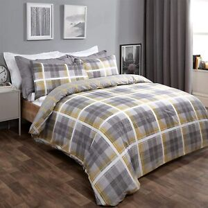 Dreamscene Denim Check Duvet Cover with Pillowcase Tartan Bedding Set Ochre Yell