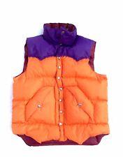 powderhorn mountaneering vintage down vest XL orange purple burgundy made in usa