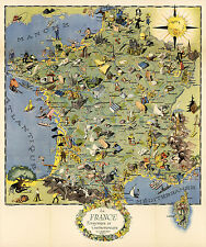 Early Vintage Map Gastronomy of France Gastronomique Midcentury Wall Art Poster