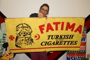 "Large Fatima Turkish Cigarettes Tobacco Gas Oil Farm 48"" Metal Sign"
