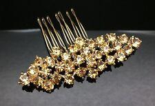 Formal Bridal Wedding Brown Crystal Hair Large Comb Clip Pin 7.6cm Gold Diamante