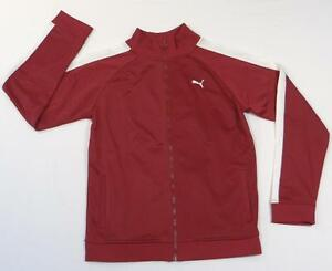 Puma Dark Red & White Zip Front Track Jacket Youth Boys NWT
