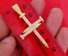 1.70 Ct Diamond Nail Cross Pendant 10k Yellow Gold Best Price Direct From Dealer