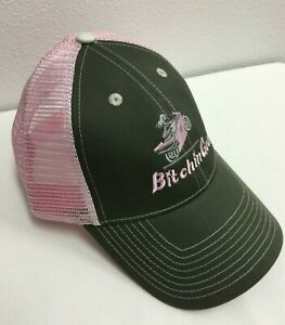 Ladies Pink Army Green Ball Cap Hat - Girl Doing Wheelie Motorcycle Sport Bike!