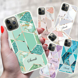 For iPhone 13 12 11 8 7 XR X XS MAX PRO Personalised Marble Phone Case Cover Z02