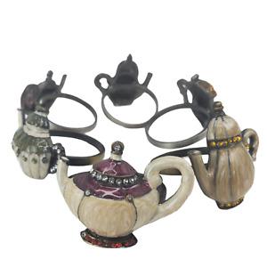 Teapot Napkin Rings Enamel Crystal Embellished Metal English Coffee Mixed Lot 6
