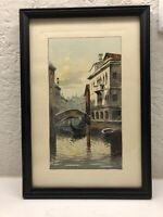 Venetian Canal Scene Watercolor- Signed L. Rizzi -Framed 1950 Vintage